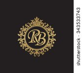 rb initial luxury ornament... | Shutterstock .eps vector #343533743
