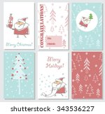 collection of 6 christmas card... | Shutterstock .eps vector #343536227
