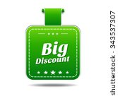 big discount green vector icon... | Shutterstock .eps vector #343537307