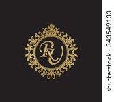 ru initial luxury ornament... | Shutterstock .eps vector #343549133