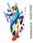 twisted smear of paint colorful ... | Shutterstock . vector #343573487