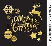 christmas gold glitter elements.... | Shutterstock . vector #343578953