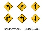 a yellow road warning sign | Shutterstock .eps vector #343580603