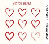 set of  vector heart icon.... | Shutterstock .eps vector #343591073