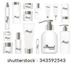 cosmetic tubes on white... | Shutterstock .eps vector #343592543
