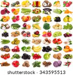collection of fresh fruits and... | Shutterstock . vector #343595513