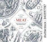 meat market frame. linear... | Shutterstock .eps vector #343597787