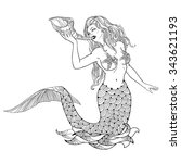 mythological mermaid or water... | Shutterstock .eps vector #343621193
