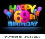 happy 69th title in big letters ... | Shutterstock . vector #343631033
