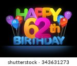 happy 62nd title in big letters ... | Shutterstock . vector #343631273