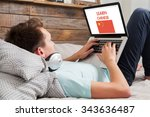 man learning chinese on the... | Shutterstock . vector #343636487