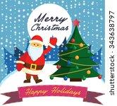 vintage christmas poster | Shutterstock .eps vector #343638797