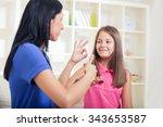 smiling deaf girl learning sign ... | Shutterstock . vector #343653587
