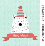 christmas greeting card with... | Shutterstock .eps vector #343659887