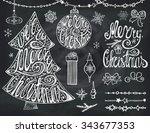 christmas tree balls lettering... | Shutterstock .eps vector #343677353