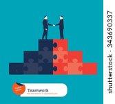 businessmen shaking hands on a...   Shutterstock .eps vector #343690337