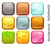 cartoon square buttons set  app ...