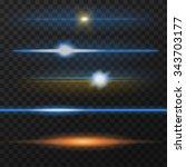 horizontal lens flares pack.... | Shutterstock .eps vector #343703177