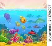 funny cartoon underwater... | Shutterstock . vector #343706777