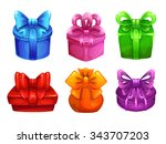colorful gift boxes with big...