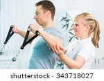 patient at the physiotherapy... | Shutterstock . vector #343718027