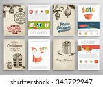 christmas vector vintage cards... | Shutterstock .eps vector #343722947
