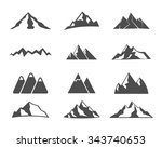 set of mountain silhouette... | Shutterstock .eps vector #343740653
