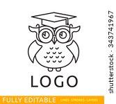owl. template of logo. line... | Shutterstock .eps vector #343741967