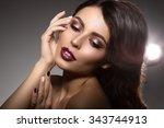 beautiful model woman in beauty ... | Shutterstock . vector #343744913