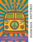 hippie style. ornamental... | Shutterstock .eps vector #343753823