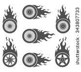 set of burning wheels for...   Shutterstock .eps vector #343807733