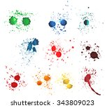 colorful watercolor splashes... | Shutterstock . vector #343809023