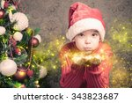 little boy fairy blowing fairy... | Shutterstock . vector #343823687