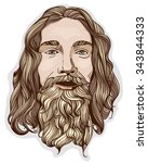 portrait of man with beard and... | Shutterstock .eps vector #343844333