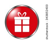 gift   vector icon on the  red...