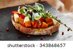 bruschetta with roasted pumpkin ...   Shutterstock . vector #343868657