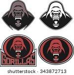 angry gorilla symbol | Shutterstock .eps vector #343872713