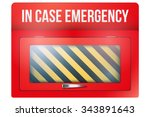 empty red emergency box with in ... | Shutterstock .eps vector #343891643
