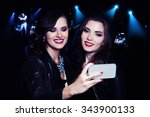 two girls making selfie on... | Shutterstock . vector #343900133