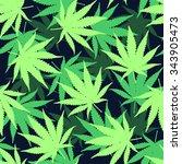 marihuana ganja weed seamless... | Shutterstock .eps vector #343905473