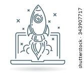 concept rocket launch from... | Shutterstock .eps vector #343907717