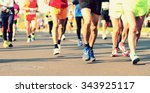 marathon running race  people... | Shutterstock . vector #343925117