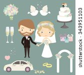 cute loving brides. wedding... | Shutterstock .eps vector #343951103