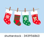 christmas socks vector... | Shutterstock .eps vector #343956863
