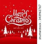 merry christmas lettering.... | Shutterstock .eps vector #343962767