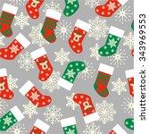 christmas stockings seamless... | Shutterstock .eps vector #343969553