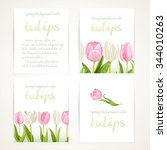 pink and white tulips on four... | Shutterstock .eps vector #344010263