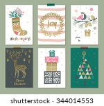 collection of 6 christmas card... | Shutterstock .eps vector #344014553
