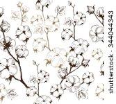 organic stems of cotton plants... | Shutterstock .eps vector #344044343