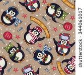 cute christmas seamless pattern ... | Shutterstock .eps vector #344061017